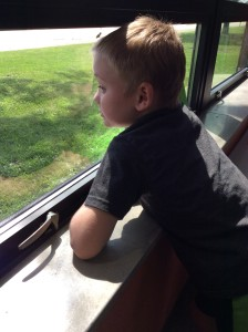 Brayden watching for busses